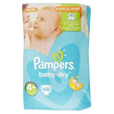 PAMPERS detské plienky Baby Dry 4+ Maxi+ 9-18 kg 48 ks